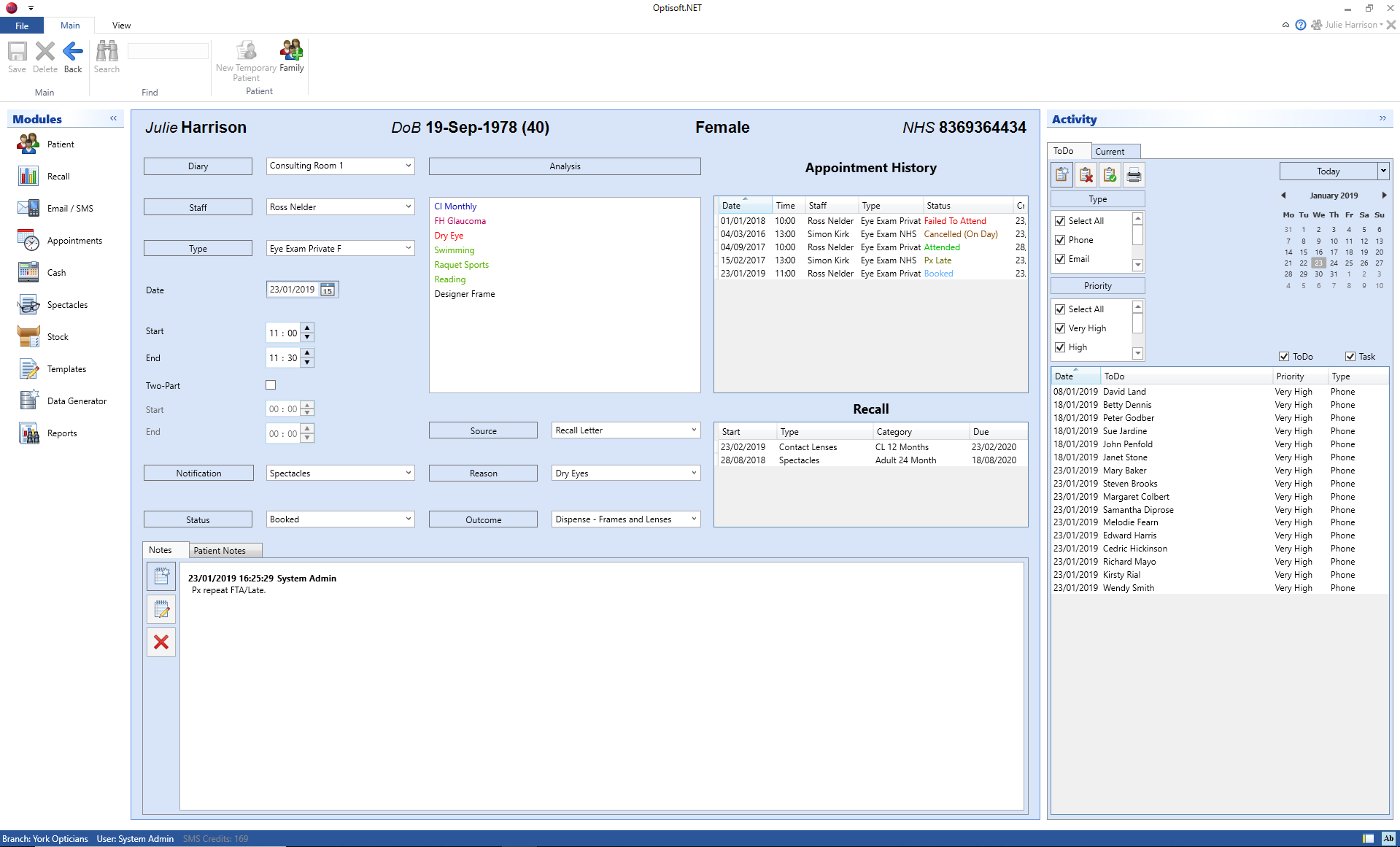 Optisoft Appointments Booking Screen