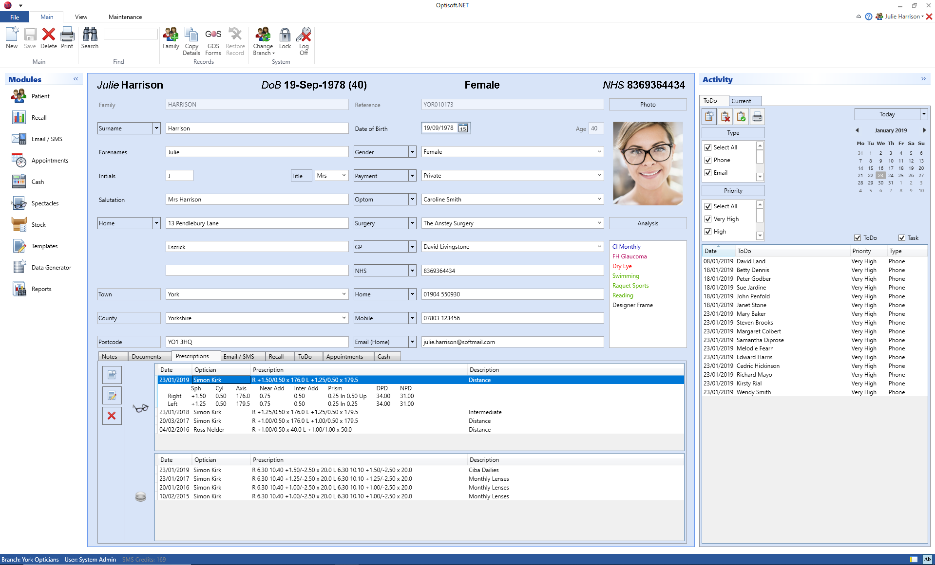 Optisoft Patients Screen